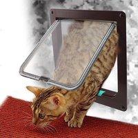 Hund Katze Klappe Tür mit 4 Weg Sicherheit Lock Klappe Tür für Hund Katzen Kätzchen ABS Kunststoff Kleine Haustier Tor tür Kit Katze Hunde Klappe Türen