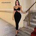 ANJAMANOR Sexy Tiefe V Side Cut Aushöhlen Backless Maxi Kleid Urlaub Strand Club Kleider Frauen Sommer Kleidung 2021 D36-BG31