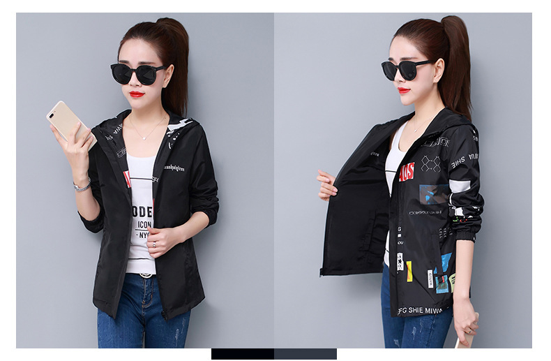H6dc8ab8808c34ac5b3aabb8d262087630 Streetwear Hooded Printed jacket women And Causal windbreaker Basic Jackets 2019 New Reversible baseball Zippers jacket 4XL