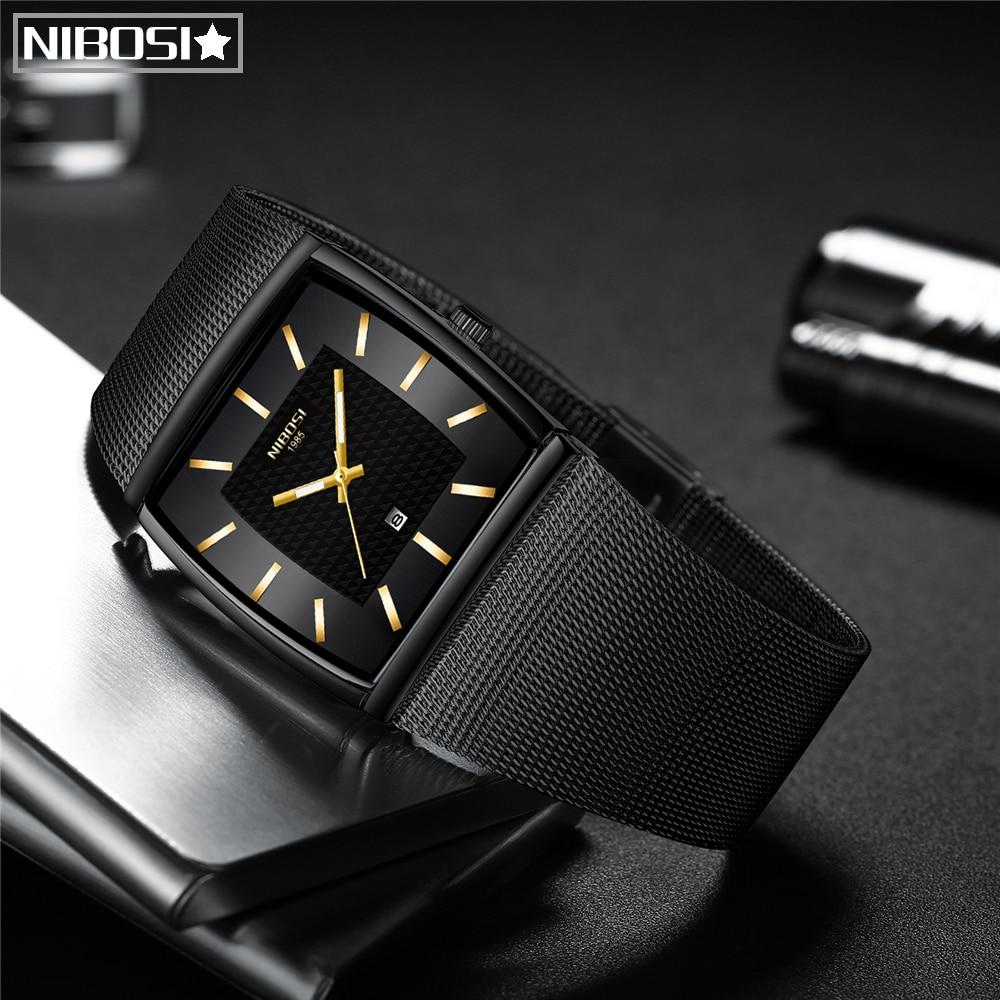 NIBOSI Relogio Masculino 2020 Genuine Men Watch Design Sport Watches Waterproof Creative Watch Man Square Wrist Watch Clock