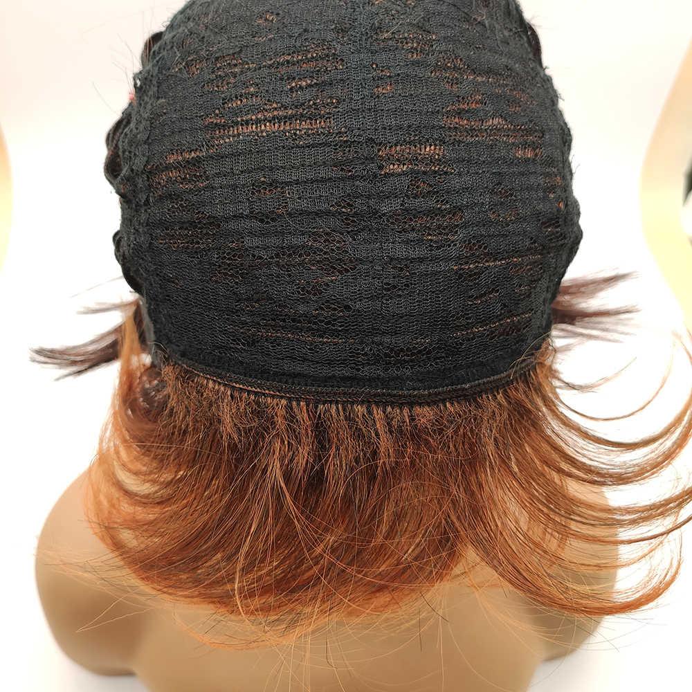 BCHR kısa peruk koyu/kırmızı turuncu sentetik peruk yan patlama ile koyu kökleri Ombre peruk kadınlar için doğal dalga saç