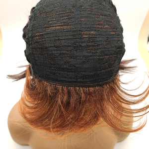 Image 5 - BCHR ショートウィッグダーク/赤オレンジ合成かつらサイドバングダーク根オンブルのかつら女性ナチュラルウェーブ髪