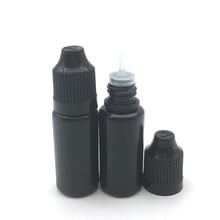 100 adet siyah 10ML boş plastik damlalıklı şişe E sıvı ile çocukların açamayacağı kap ve uzun ucu gözler damla doldurulabilir sıkılabilir şişe