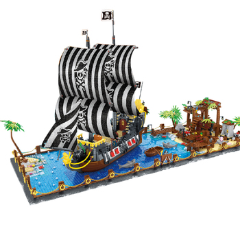 Nowe pomysły 031002 piraci z Barracuda Bay Booty klocki klocki zabawki dla chłopców prezent prezenty na urodziny, boże narodzenie 5937 sztuk żaglówka