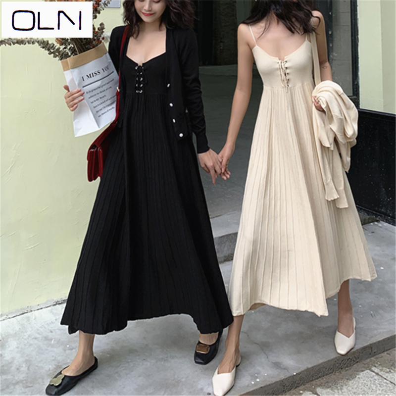 Dress Autumn dress Korean new arrival vestidos wholesale OLN Cardigan tight knit dress included in Women 39 s Sets from Women 39 s Clothing