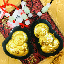 Send A-level certificate Natural Hetian jade inlaid 24K gold foot laughing Buddha Guanyin pendant with hand-woven necklace(China)