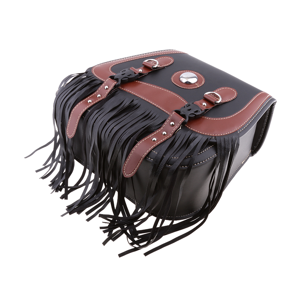 Rider Studded Leather Motorcycle Tassels SaddleBags Panniers Luggage