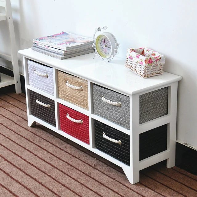 Small TV Cabinet Modern Minimalist Solid Wood Living Room Teapoy Table Combination Cabinet Bedroom Floor Cabinet Storage Cabinet