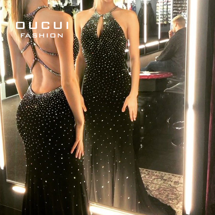 Halter Backless Evening Party Dresses Robe De Soiree Beading Trumpet / Mermaid Evening Dress Long 2019 Sleeveless OL102493B