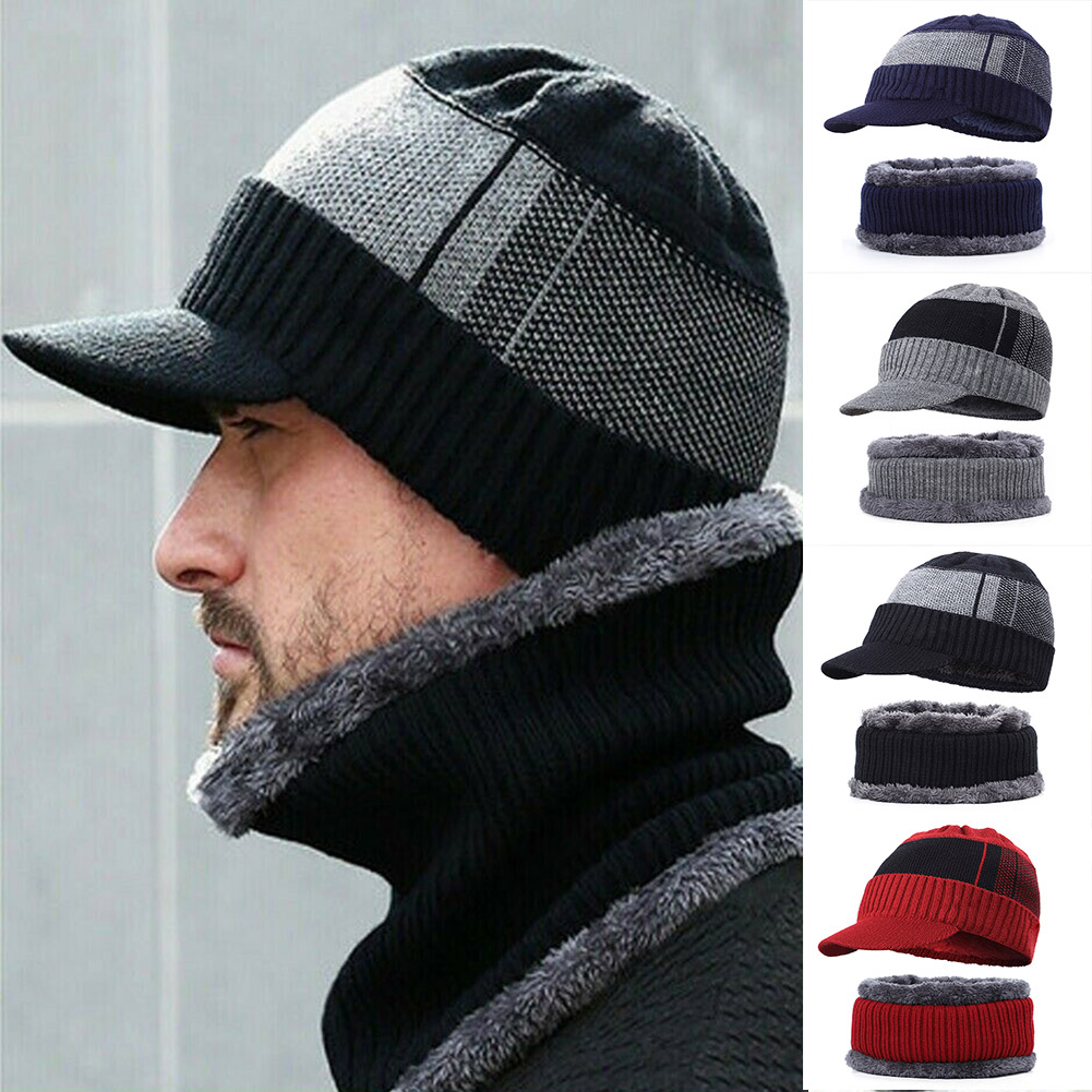 New Men Winter Warm Hat Knit Visor Fleece Lined Cap Soft Breathable with Scarf Loops Set XD88