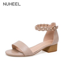 NUHEEL women's shoes new summer rivet retro style sandals thick heel word buckle cover heel shoes women босоножки женские