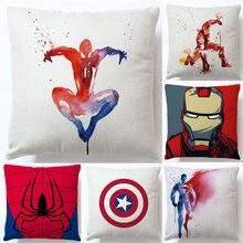 Anime super herói capa de almofada spiderman ironman superman impressão macio cânhamo fronha decoração da casa dos desenhos animados filme fãs presente 45*45cm