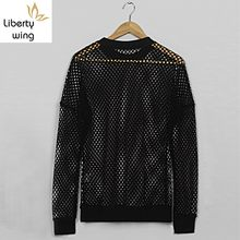 Gothic Hollow Out Mens Summer Long Sleeve T-shirt High Street Fishing Net See Through Sexy Male Tops Tees Casual Breathable Top(China)