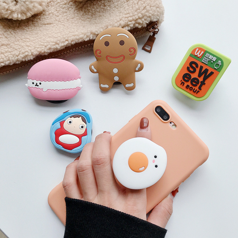 Cute 3D Cartoon Bear Airbag Expansion Mobile Phone Bracket Finger Car Phone Holder Universal Mobile Phone Elastic Slot Bracket