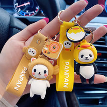 Novo bonito dos desenhos animados do pvc panda gato e sushi homens mulheres saco chaveiro do carro acessórios chaveiro auto chaveiro chaveiro calças jóias crianças