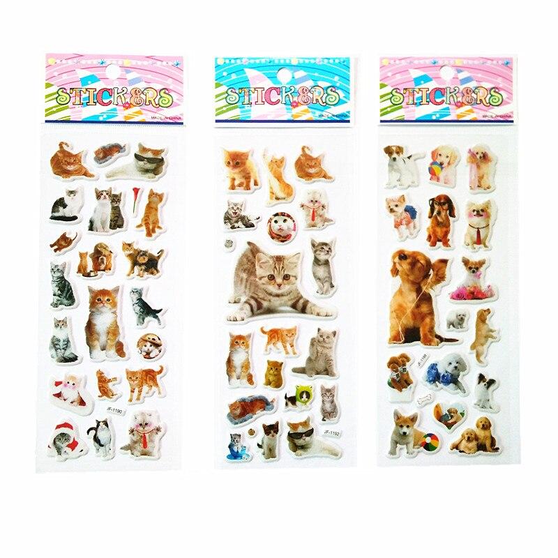 3 Sheet/lot Cat And Dog Princess Series Puffy Sticker Scrapbook Bubble Stickers Kawaii Reward Kids Toys
