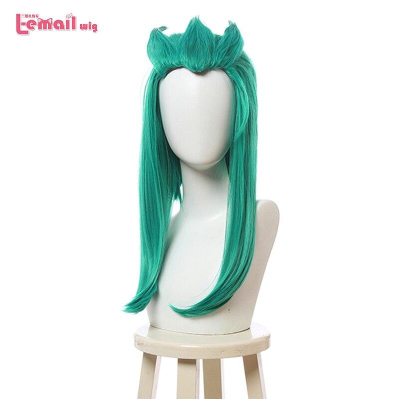 L-email Wig LoL Star Guardian Rakan Cosplay Wigs Long Straight Green Men Cosplay Wig Halloween Heat Resistant Synthetic Hair