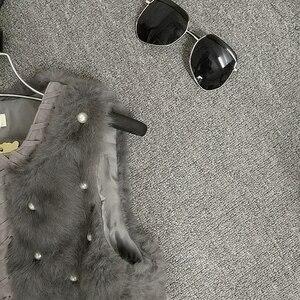 Image 5 - MUMUZI ผู้หญิงของแท้กระต่ายจริงขนเสื้อ Slim เอวลูกปัดเสื้อกั๊กสั้น GILET เสื้อโค้ทกับ Tassels Raccoon FUR COLLAR