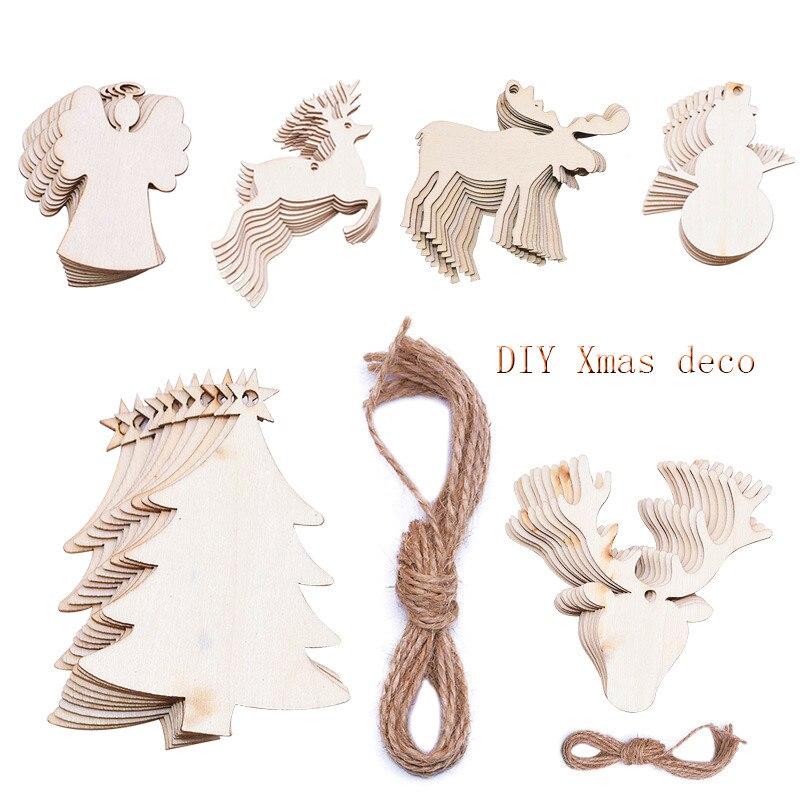 10Pcs Kerst Hanger Sneeuwpop Hout Chip Boom Ornamenten Diy Kerstboom Opknoping Decor Levert Nieuwe Jaar Xmas Party Kids gift