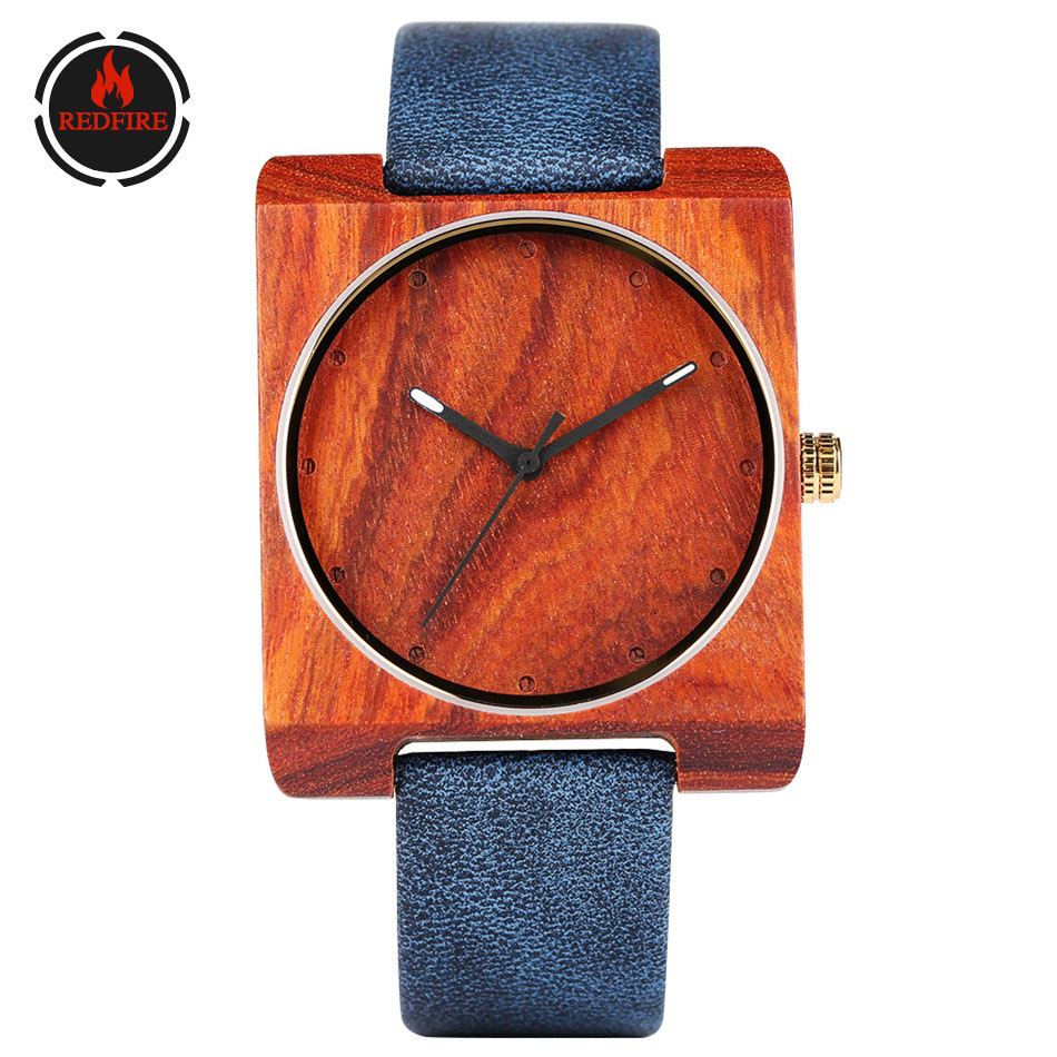 REDFIRE Women's Watches Wooden Minimalist Genuine-Leather Dial-Clock Square Lady Femenino title=