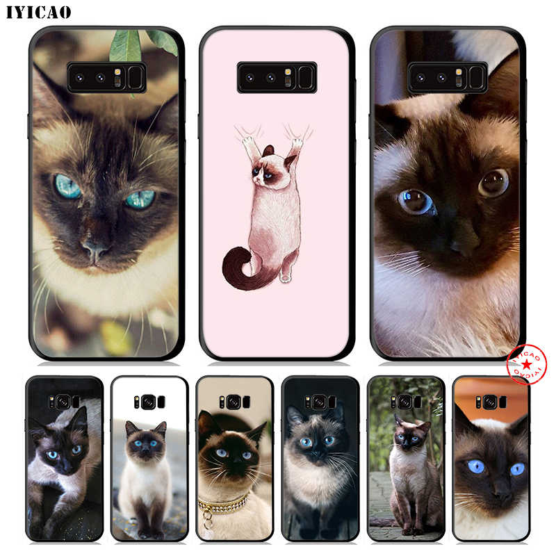 IYICAO Cute Siamese Cat Soft Phone Case for Samsung Galaxy S10e S10 S9 S8 Plus S6 S7 Edge Note 10 Plus 9 8