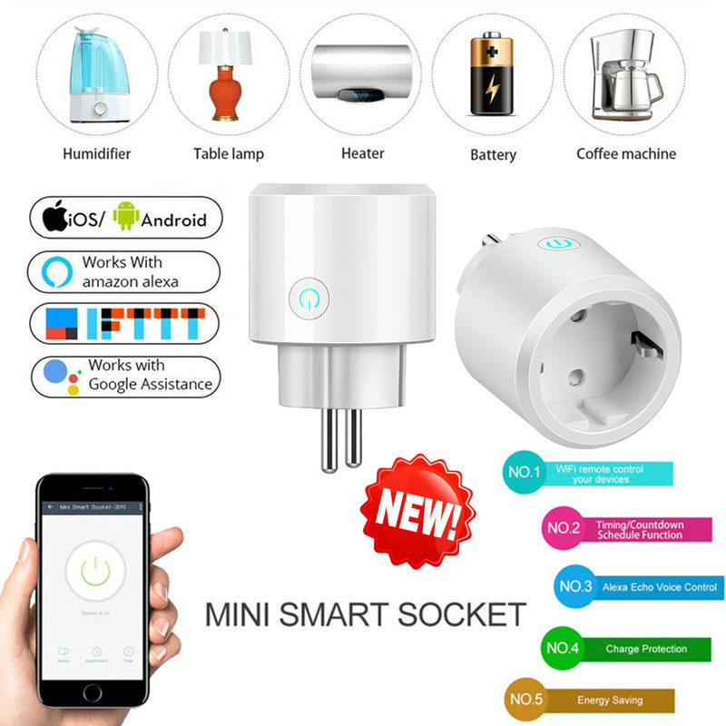 UK/US/EU Smart Home Plug Wireless WIFI Remote Control Socket Voice Control  Smart Power Socket Support Alexa Google Home