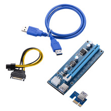VER 006C Riser Miner PCIE Express PCI-E 1X to 16X USB3.0 Data Cable SATA 15Pin 6Pin IDE Molex Power Supply For BTC Miner 10pcs E 4 slots pci e 1 to 4 pci express 16x slot external riser card adapter board for btc miner mining