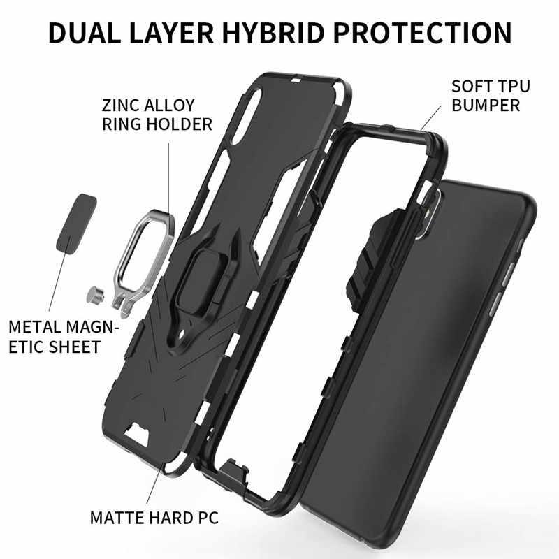 الفاخرة القوس الدائري للصدمات حقيبة لهاتف أي فون 11 برو XS ماكس XR X 6 6S 7 8 زائد 5S 5 TPU + PC الصلب مصد من البلاستيك الوقوف الغطاء الخلفي