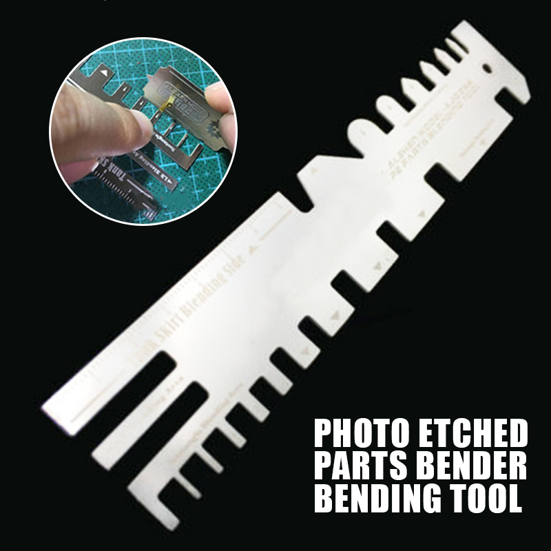 AJ0086 Metal Hand Pressure Type Ruler Etch With Bending Plate For Model Ship Tank Photo Etched Parts Bender Bending Folding Tool