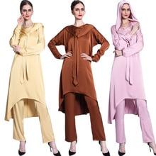 Turkish Middle East Solid Muslim Sets Abayas Satin 2PCS Hooded Tops Pants Women Outfits Arab Islam Clothing Kaftan Ramadan Eid