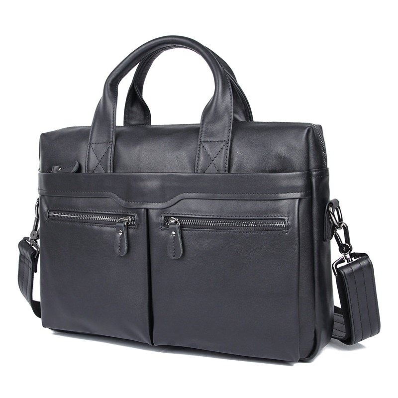 JMD Vintage Leather Men's Black Briefcase Laptop Bag Messenger Handbag Hot Selling 7122A-1