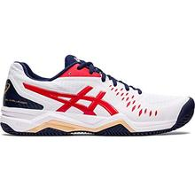 gel Challenger 12 clay, Unisex Adult walking shoe, classic white / red, 32 / 32.5 EU