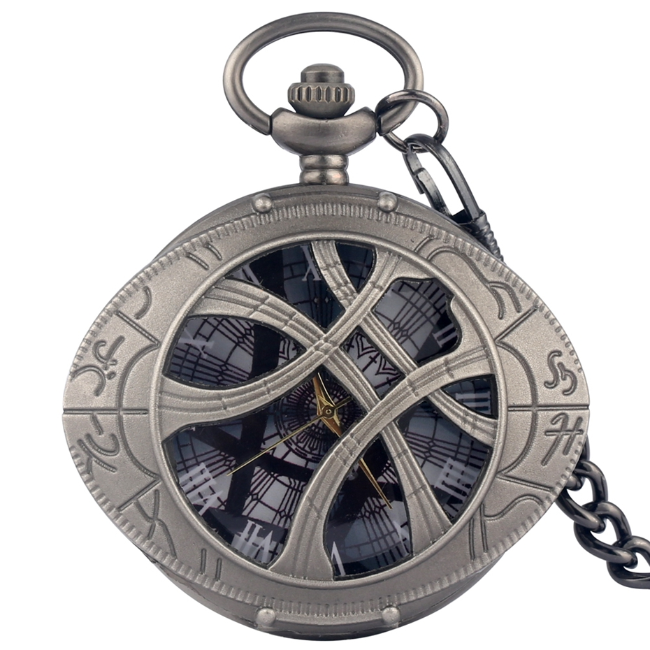 Grey Black Big Quartz Pocket Watch Strange Dr. Agomo's Eye Doctor Who Necklace Sweater Chain Antique Retro Pendant Clock Gifts