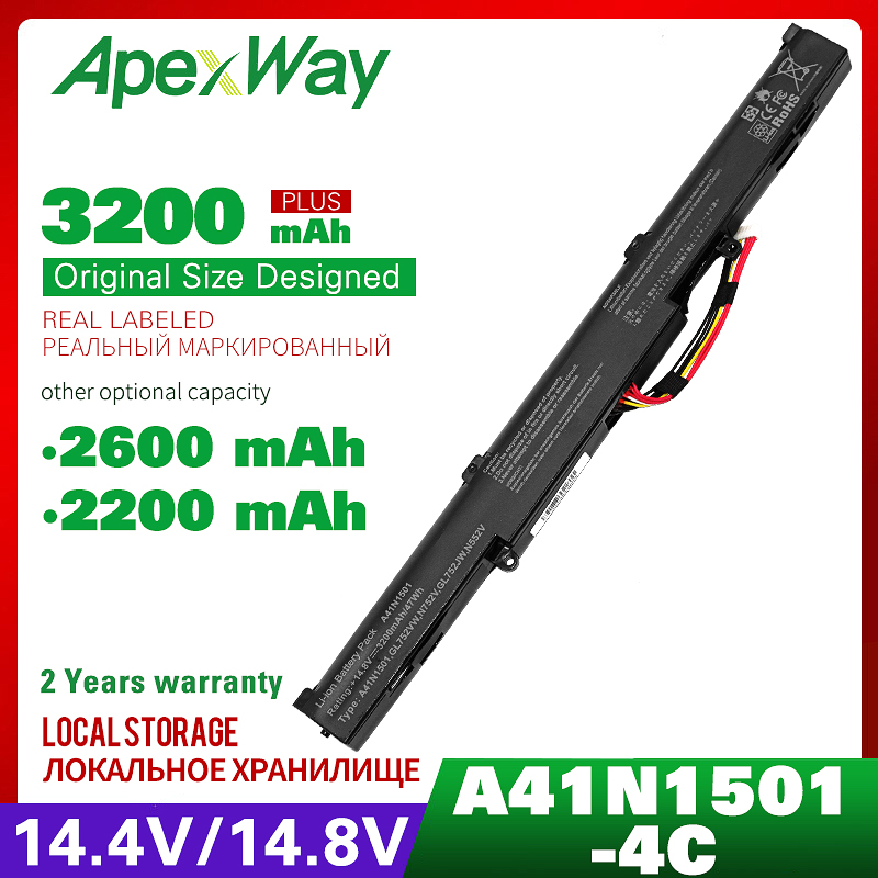 ApexWay 4 Cells Laptop Battery For Asus A41N1501 A41LK9H  N552 N552V GL752 GL752V GL752VL GL752VLM GL752VW GL752VWM