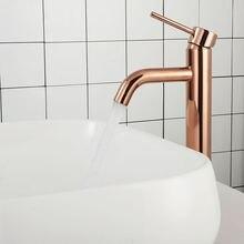 Розовое золото кран для раковины ванной комнаты на одно отверстие