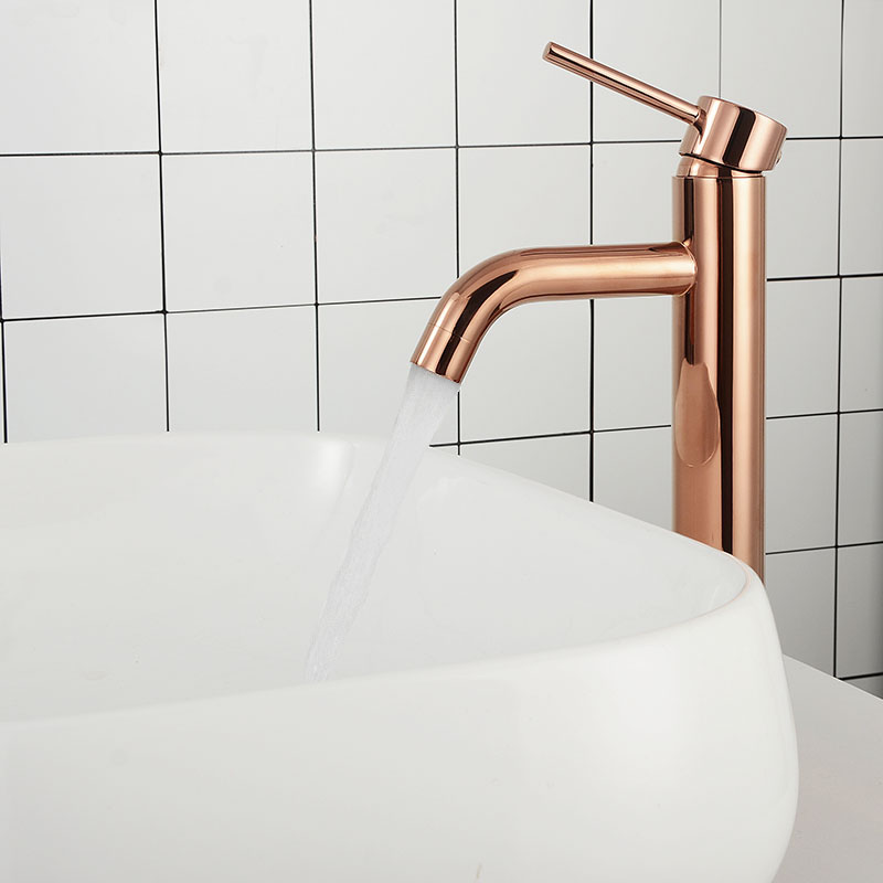 Rose gold Bathroom Basin Faucet Single Hole Single Handle Cold And Hot Mixer Tap Bathroom Sink Brass Tap