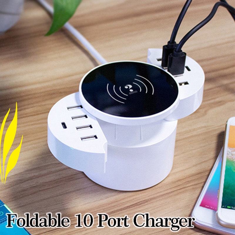 10 Port Smart Foldable Mobile Phone Charger with Type C Wall Adapter Hub Travel Universal iphone 7 6s Wireless Charger forXiaomi