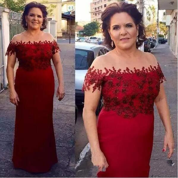 Burgundy Mother Of The Bride Dresses A-line Cap Sleeves Appliques Beaded Long Groom Mother Dresses For Weddings