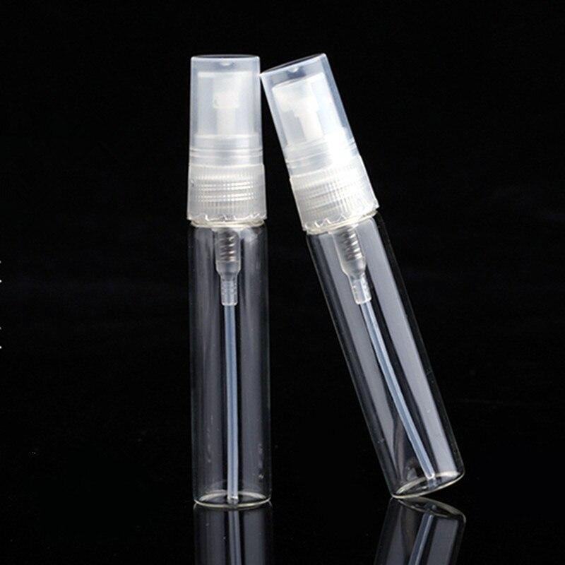 50pcs/lot 2ML 3ML 5ML 10ML Clear Black Glass Spray Bottle Black Perfume Atomizer Mini Sample Test Tube Bottle Thin Glass Vials