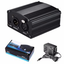 Wholesale Microphone 1-Channel 48V Phantom Power Supply+Adapter AU US EU Plug for Any Condenser Microphone Recording(China)