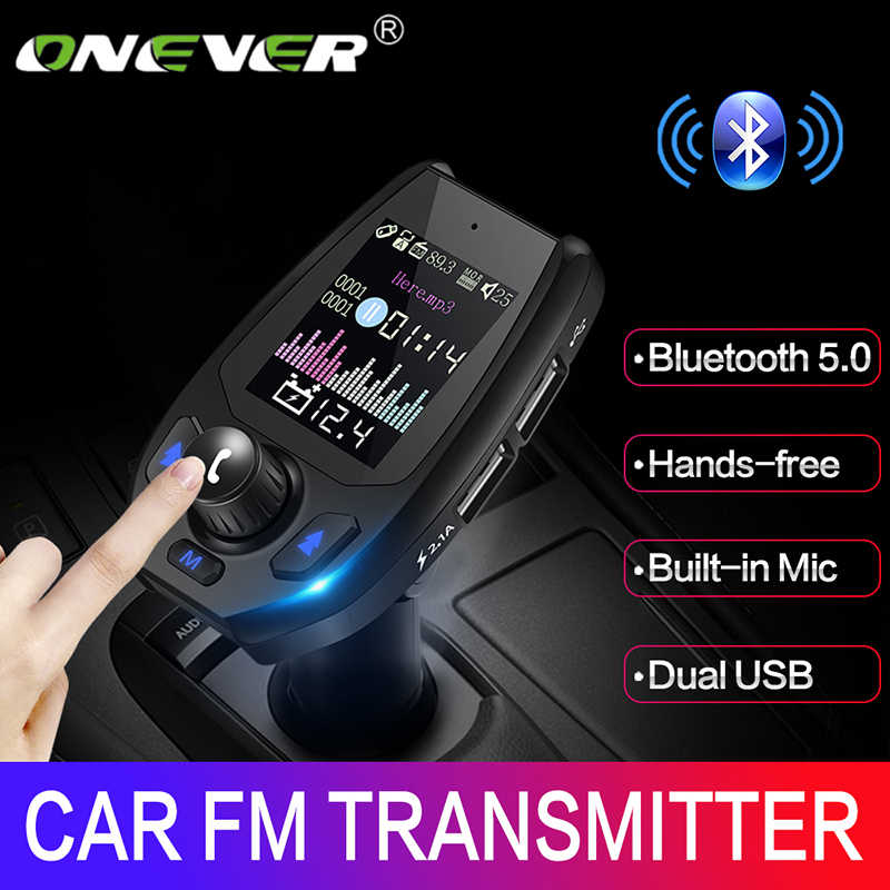 Onever, Bluetooth 5,0 5V3.1A, transmisor FM, adaptador Bluetooth, voltaje de batería, Cargador USB doble con modulador de avisos de voz, nuevo