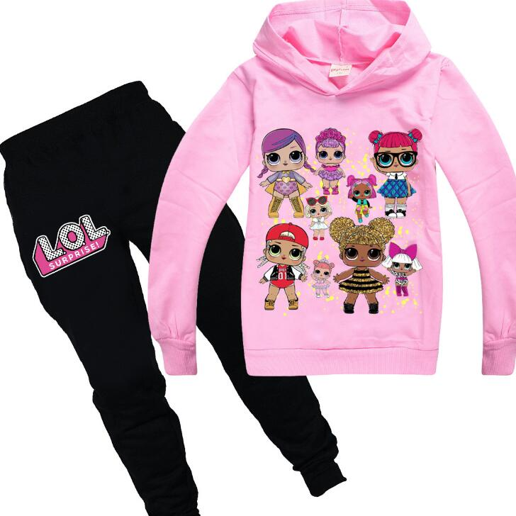 Kids Lol Doll Clothes Baby Girls Long Sleeve Hoodies Coat +Pants For Girl Winter Outfits 2Pcs Children's Christmas Outfits Sets