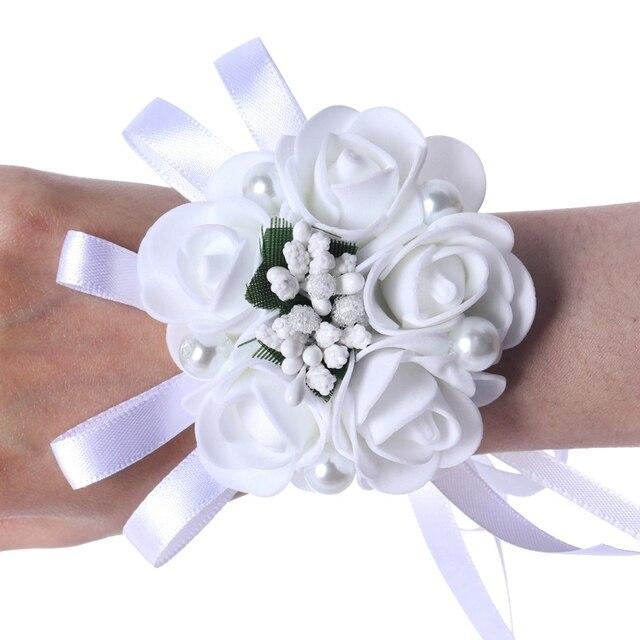 Różowa perła ozdobiony paciorkami ślubny kwiaty na nadgarstek druhna De małżeństwo wstążka kryształowe staniki nadgarstek kwiaty
