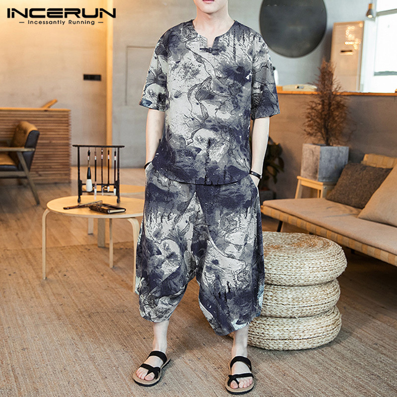 INCERUN Chinese Style Printed Men Sets Short Sleeve V Neck Ethnic Shirt Elastic Waist Casual Pants Streetwear Men Sets 2 Pieces