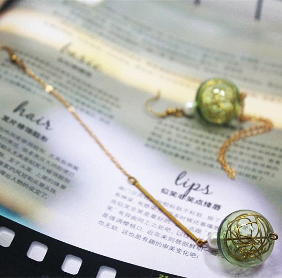 New Design Mint Green Beautiful Transparent Glass Bubble Drop Earrings Long Tassel Asymmetrical Dangle Earring Jewelry