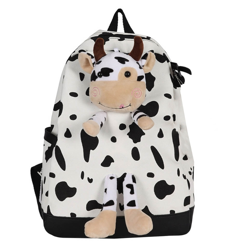 Lovely Cartoon Students School bag White Black Cow Print Backpack Fashion Backpack Shoulder Bag Daypack for Boys Girls Daily Use