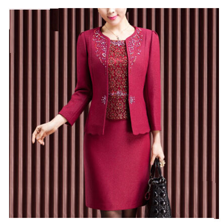 2 Pieces  New Free Shipping High Quality Fahion  Mom Dress Women Long Sleeved Set Mid Old Age Women Clothing Plus Size Suit
