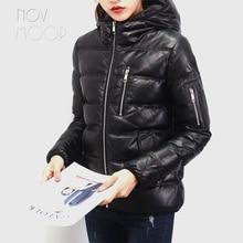 Novmoop уличный черный пуховик на молнии с капюшоном зимняя куртка из натуральной овчины manteau femme kurtka damski LT2834