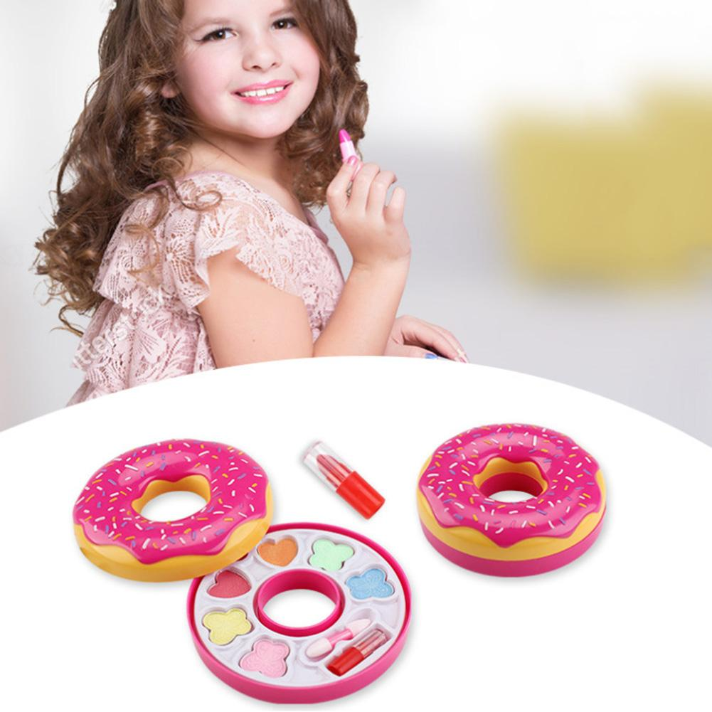 Donut Shape Lipstick Eye Shadow Makeup Cosmetic Palette Pretend Play Kids Toy