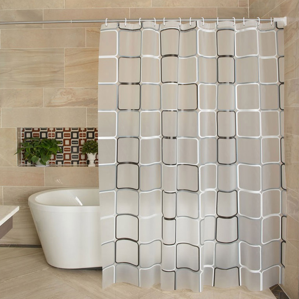 Waterproof PEVA Shower Curtain Liner Transparent Mildew Curtain Bath For Bathroom Shower Curtain With 12 High Quality Hooks(China)